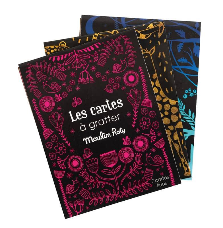 Set de 7 cartes à gratter fluo les petites merveilles Moulin Roty
