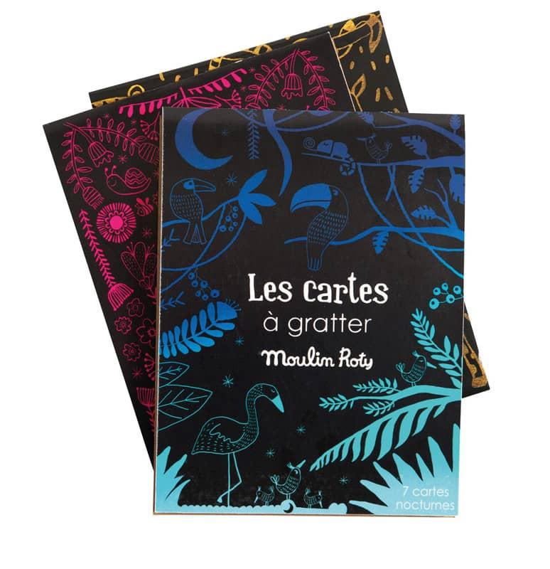 Set de 7 cartes à gratter nocturnes les petites merveilles Moulin Roty