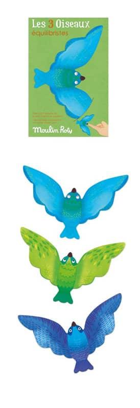 Set de 3 oiseaux équilibristes bleus Les petites merveilles Moulin Roty
