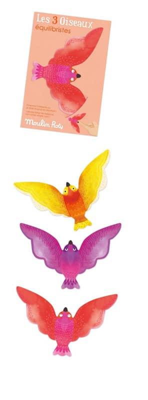Set de 3 oiseaux équilibristes corail Les petites merveilles Moulin Roty